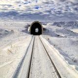 Sneeuwspoorweglandschap in Kars stock afbeelding