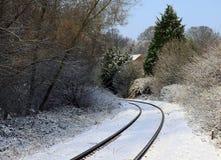Sneeuwspoorwegsporen royalty-vrije stock fotografie