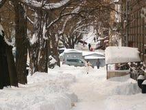Sneeuwstad Royalty-vrije Stock Afbeeldingen