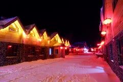 SNEEUWstad IN WINTERTIJD IN HARBIN, CHINA stock foto