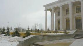 Sneeuwstorm in Astana stock video