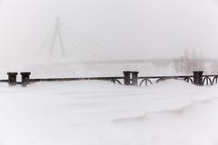 Sneeuwstorm in de stad Royalty-vrije Stock Fotografie