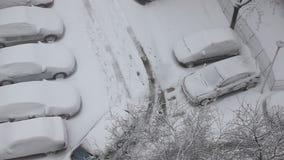 Sneeuwstorm in het parkeren Stock Afbeelding