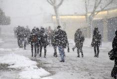 Sneeuwstorm in Istanboel royalty-vrije stock afbeeldingen