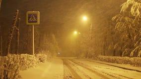 Sneeuwstorm op lege weg bij nacht in de stad, voetgangersoversteekplaatsteken stock footage