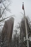 Sneeuwstraat na de winteronweer in Boston, de V.S. op 11 December, 2016 Royalty-vrije Stock Afbeelding