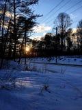 Sneeuwtreinspoor Stock Foto's