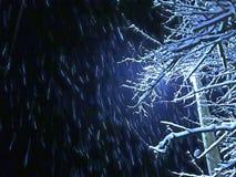 Sneeuwval bij nacht royalty-vrije stock foto's