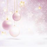 Sneeuwval en sterrenachtergrond met snuisterijen Royalty-vrije Stock Afbeelding