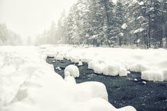 Sneeuwval op de bergrivier Stock Foto's