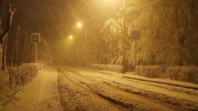 Sneeuwval op lege weg bij nacht in de stad, voetgangersoversteekplaatsteken stock footage