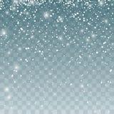 Sneeuwvalpatroon Dalende Sneeuwvlokken Vectordieillustratie op transparante achtergrond wordt geïsoleerd Royalty-vrije Stock Foto's