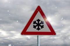 Sneeuwvalwaarschuwing Stock Afbeeldingen