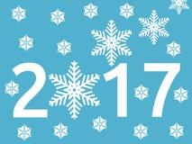 Sneeuwvlok, Nieuwjaar 2017 Stock Illustratie