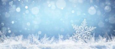 Sneeuwvlok op Natuurlijke Sneeuwbank Dichte Omhooggaand royalty-vrije stock foto
