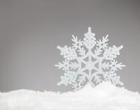 Sneeuwvlok op sneeuw stock foto