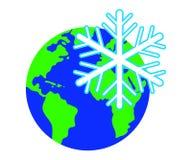 Sneeuwvlok tegen de achtergrond van de planeet vector illustratie
