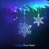 Sneeuwvlokfonkelingen op een donkerblauwe achtergrond, Stock Fotografie
