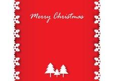 Sneeuwvlokkader en Kerstboom op rode achtergrond Stock Foto's