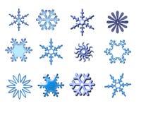 Sneeuwvlokken â die op wit worden geïsoleerdl Stock Foto