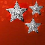 Sneeuwvlokken de Kaart van de van de achtergrond Kerstmisvakantie Ontwerp de Zilveren Ster Stock Afbeelding
