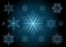 Sneeuwvlokken en blauwe ster Royalty-vrije Stock Foto's