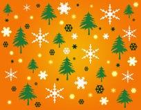 Sneeuwvlokken en bomen op oranje achtergrond Stock Afbeelding