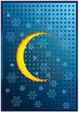 Sneeuwvlokken en halve zon over een blauwe achtergrond royalty-vrije stock foto