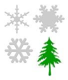 Sneeuwvlokken en Kerstboom Stock Afbeelding