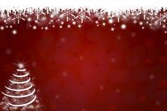 Sneeuwvlokken en Kerstboomachtergrond Royalty-vrije Stock Afbeeldingen