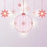 Sneeuwvlokken en Kerstmisballen Stock Afbeeldingen