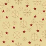 Sneeuwvlokken en sterrenpatroon Royalty-vrije Stock Afbeeldingen