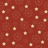 Sneeuwvlokken en sterrenpatroon Royalty-vrije Stock Afbeelding