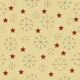 Sneeuwvlokken en sterrenpatroon Royalty-vrije Stock Foto