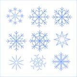 Sneeuwvlokken mooie verschillend, voor groetkaarten voor Kerstmis en voor het nieuwe jaar, blauw blauw, het interesseren, illustr royalty-vrije illustratie