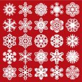 Sneeuwvlokken op blauw Wit op rood (plaats 1) Royalty-vrije Stock Fotografie