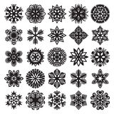 Sneeuwvlokken op blauw Zwarte op Wit Reeks 2 Royalty-vrije Stock Fotografie