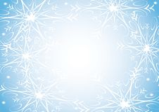 Sneeuwvlokken op blauwe achtergrond stock illustratie