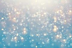 Sneeuwvlokken op een abstracte glanzende lichte achtergrond royalty-vrije illustratie