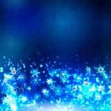 Sneeuwvlokken op een donkere achtergrond Stock Foto