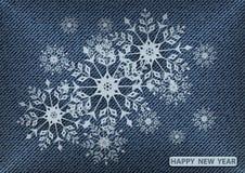 Sneeuwvlokken op jeans Royalty-vrije Stock Foto's