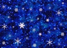 Sneeuwvlokken op nachthemel Stock Afbeeldingen