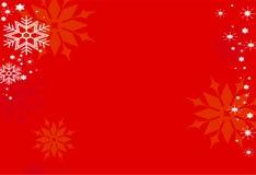 Sneeuwvlokken op rood Royalty-vrije Stock Afbeeldingen