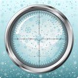 Sneeuwvlokken in sluipschuttergezicht vector illustratie