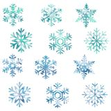 Sneeuwvlokken, sneeuw, nieuw jaar, Kerstmis, koude, patroon, reeks vector illustratie