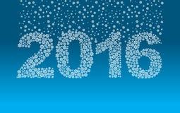 2016 sneeuwvlokken Sneeuwdalingen op de cijfers Royalty-vrije Stock Fotografie