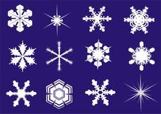 Sneeuwvlokken - twaalf nieuwe vormen Stock Foto