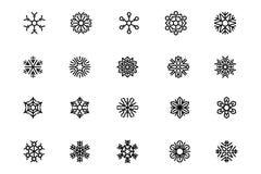 Sneeuwvlokken Vectorpictogrammen 3 Royalty-vrije Stock Afbeelding