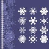 Sneeuwvlokken voor het ontwerp dat van de Kerstmiswinter worden geplaatst stock illustratie