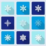 Sneeuwvlokkenpictogrammen met lang schaduweffect Royalty-vrije Stock Foto's
